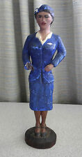 Vintage carved wood statue Pan Am  American Air  Stewardess Uniform Advertising