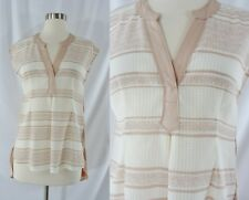 NWT Anthropologie Postmark XS Short Sleeve High Low Pink White Striped Top $68