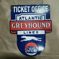 GREYHOUND TICKET OFFICE VINTAGE PORCELAIN SIGN 13 X 16 INCHES