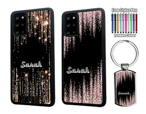 PERSONALISED Name Glitter Silicone Case Samsung S20 FE S21 Plus + Keyring