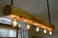 Vintage Ceiling Light Rustic Lamp Round Wood Log Hanging Chandelier  *HANDMADE*