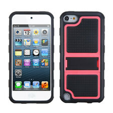 For iPod touch 6th GEN, 5th GEN Hot Pink Gummy Armor +Kick Stand Cover Case