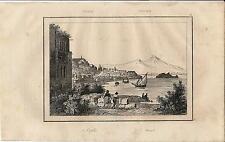 Stampa antica NAPOLI veduta del lungomare e del Vesuvio 1835 Old antique print