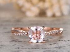 0.90 Ct Morganite & Sim Diamond Womens Engagement Ring 14K Rose Gold Plated