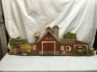 Vintage Burwood Products Barn Scene 587 Rustic Farm Decor 16x46 Long Retro 1974