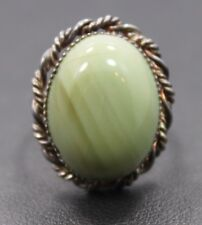 Adjustable Sterling Silver Pale Green Oval Agate Stone Ring