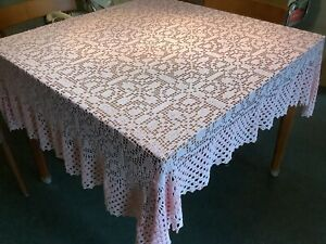 """VIntage Shabby Chic Hand Crocheted Pale Pink Table Cloth 48"""" X 54"""" Excellent"""