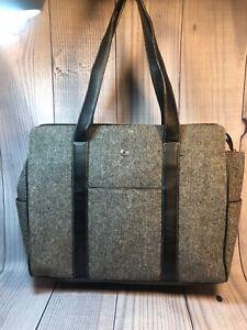 Liz Claiborne Briefcase Shoulder Bag Black Tweed Leather Trim 15x12x4 Floral Lin