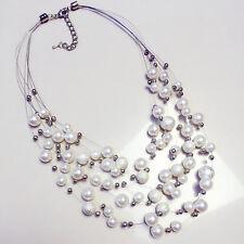 Women Multi-layer Fake Pearl Necklace Choker Bib Pendant Chunky Chain Charm