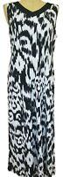 Chicos Black White Ikat Sleeveless V-Neck Maxi Dress Size 2 Large NWT Stretchy