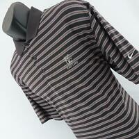 Mens Nike Golf Dri Fit Brown Performance Striped Golf Polo Shirt Size Large L