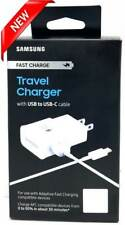 NEW Samsung Fast Charge Travel Charger Wall Head + USB to USB-C Cable White