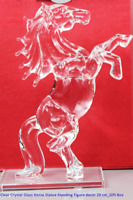 Clear Crystal Glass Horse Statue Standing Figure decor 20 cm_Gift Box Xmas_UK