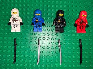 LEGO- NINJAGO- ORIGINAL- LOT OF 4 MINIFIGURES- JAY- KAI- COLE- ZANE- MINFIGS