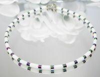 Halskette Kette Walzenkette Walzen Jade Style Hämatit weiss mehrfarbig 066e