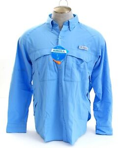 Columbia PFG Omni Shade Blue Airgill Lite Button Front Fishing Shirt Men's NWT