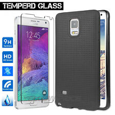 Samsung Galaxy Note 4 Case, Matte Back Dot Rubber Case+ Real Tempered Glass Film