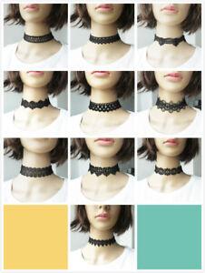 Black Lace Choker Necklace Boho Burlesque Festival Vintage Tatto Retro