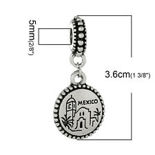 """Mexico"" Charm Bead Spacer for Snake Chain Charm Bracelets 2692"