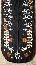 "64"" Hand made Flannel Embroider Applique SKELETON Pumpkin HALLOWEEN Table Runner"
