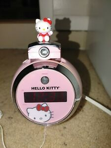 Hello Kitty Pink LED Projector Alarm Clock AM FM Radio Time Display Tested Works