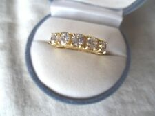 Antique Art Deco Jewellery Gold Band Ring with White Sapphires Vintage Jewelry