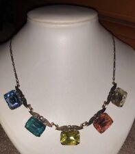 Sadie Green Vintage Deco Replica Foilback Glass Necklace