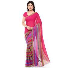Pink Georgette Printed Bollywood Saree Party Indian Pakistani Designer Sari