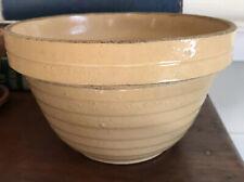 Vintage Mustard Stoneware Ribbed Pottery Mixing Bowl Americana Decor USA-made
