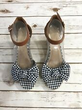 Old Navy Womens 8.5 Espadrille Wedge Sandal Black White Check High Heel Ankle St