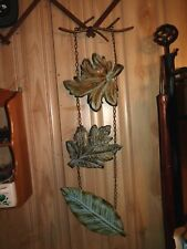 "Primitive hanging metal leaves decor 29.5"" long, chains, rustic, kitchen, cabin"