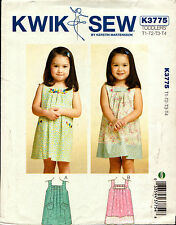 Kwik Sew Sewing Pattern K3775 3775 Toddlers Dresses