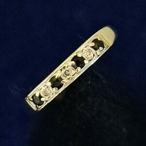 9 Carat Gold 375 Diamond Sapphire Half Eternity Ring Size N