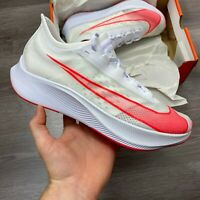 NIKE ZOOM FLY 3 WHITE RED RUNNING TRAINERS SHOES SIZE UK8.5 US9.5 EUR43 CM27.5