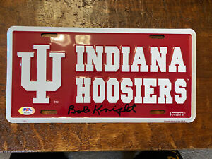 Bob Knight Signed Indiana Hoosiers License Plate PSA DNA Coa The General Bobby