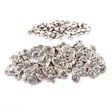 100pcs Diamond Clear DIY Rivet Studs Silver for Shoes Bags Leathercraft 10mm