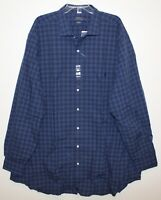 Polo Ralph Lauren Big and Tall Mens Blue Plaid Button-Front Dress Shirt NWT 3XLT