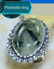 anello argento 925 antico design quarzo prenhite naturale size 9 3/4