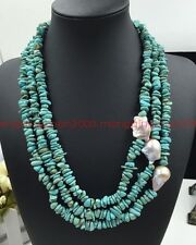 Fashion natural turquoise 3 rows baroque pearls 15-28 mm purple pearl Necklaces