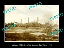 Old Large Historic Photo Of Lithgow Nsw, View Of Hoskinss Steel Works c1919