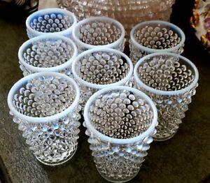 Set of 8 Vintage Fenton Clear Opalescent Moonstone Hobnail Juice Glasses