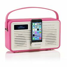 VQ Rosa Shocking retrò colourgen dab + fm radio 8-Pin Dock iPhone * RICONDIZIONATO *
