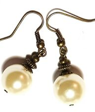 Ivory Pearl Earrings Antique Bronze Style Pierced Hooks Drop Dangle Boho Hippy