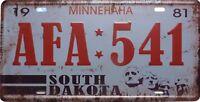 PLAQUE métal style immatriculation Américaine USA   SOUTH DAKOTA