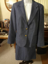 Inner Visions by Ship & Shore 3 Piece Ladies Blue Suit Jacket Pants Skirt 16-18