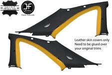 BLACK & YELLOW 2X B C PILLAR LEATHER COVER FITS NISSAN SKYLINE GTS GTR R33 93-98