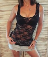 Very Sexy Racerback Lace Sheer Low Cut Cleavage Cami Tank Top Black S/M/L