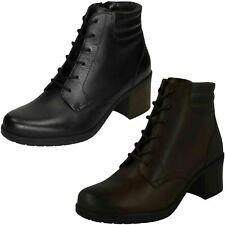 Ladies Clarks Black or Mahogany Leather D Fitting Ankle Boots : Hollis Jasmine