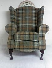 Custom Made Wing Back/Queen Anne/Cottage Duck Egg Lana Tartan Chair