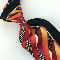 Vitaliano Pancaldi Tie Abstract Vibrant Red Orange Black Check Necktie Silk L1